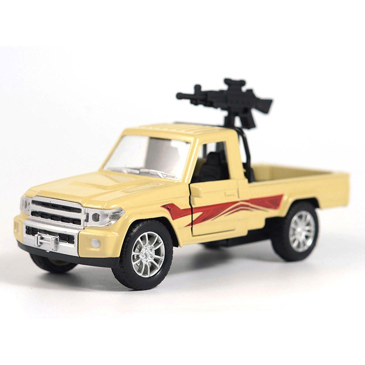 1:28 Military Pickup Truck w/ Machine Gun Force Car Model Alloy Diecast Vehicle