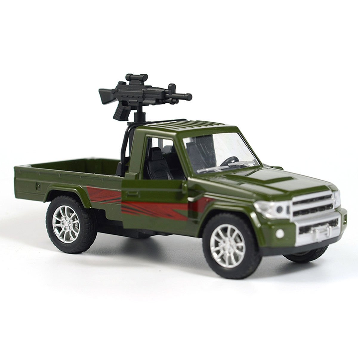 1:28 Military Pickup Truck w/ Machine Gun Force Vehicle Car Model Diecast Green