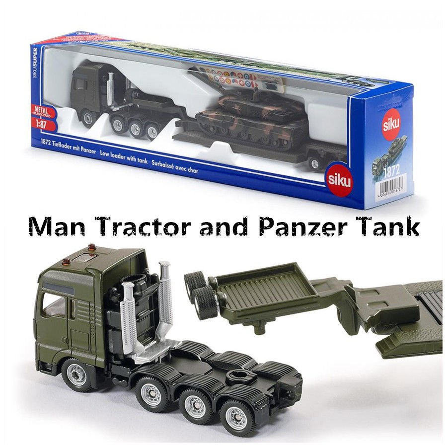 SIKU 1872/Diecast Model/1:87 Scale Man Platform Truck and Panzer Tank Toy Car