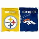 DEL Pittsburgh Steelers Denver Broncos House Divided Flag 3ft X 5ft Polyester NC