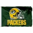 Green Bay Packers Helmet Wordamark Flag 3ft X 5ft Polyester NFL1 Team Banner Fly