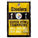 Pittsburgh Steelers Super Bowl Champions Flag 3ft X 5ft Polyester NFL1 Banner Fl