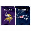 Minnesota Vikings New England Patriots House Divided Flag 3ft X 5ft Polyester NF