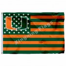 Miami Hurricanes Flag 3ft X 5ft Polyester NCAA Banner Carolina Hurricanes Flying