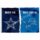 Dallas Cowboys Detroit Lions House Divided Flag 3ft x 5ft Polyester NFL Banner S