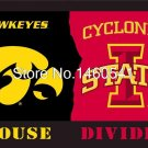 Iowa Hawkeyes Iowa State Cyclones House Divided Flag 3ft X 5ft Polyester NCAA Ba