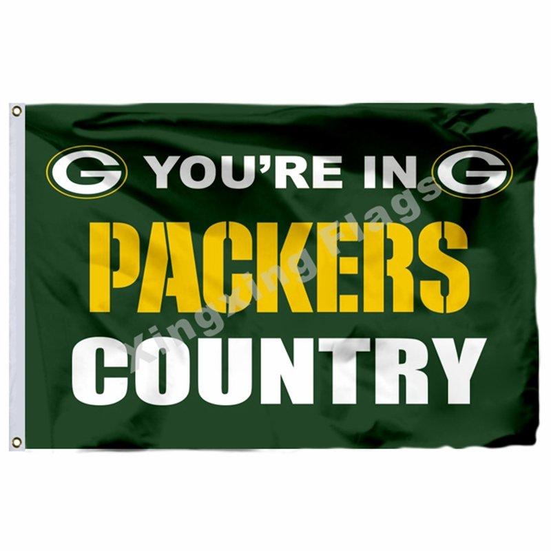 """You""""""""re In Packers Country Flag 3ft X 5ft Polyester NFL1 Green Bay Packers Banner"""