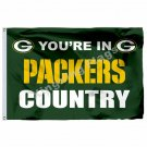 "You""""re In Packers Country Flag 3ft X 5ft Polyester NFL1 Green Bay Packers Banner"