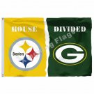 Pittsburgh Steelers Green Bay Packers House Divided Flag 3ft X 5ft Polyester NCA