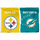 Pittsburgh Steelers Miami Dolphins House Divided Flag 3ft X 5ft Polyester NCAA B