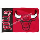 Chicago Bulls Wordmark Flag 3ft x 5ft Polyester NBA Chicago Bulls Banner Flying