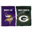 Minnesota Vikings Green Bay Packers House Divided Flag 3ft X 5ft Polyester NFL B