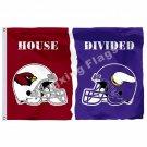 Arizona Cardinals Minnesota Vikings Helmets House Divided Flag 3ft X 5ft Polyest