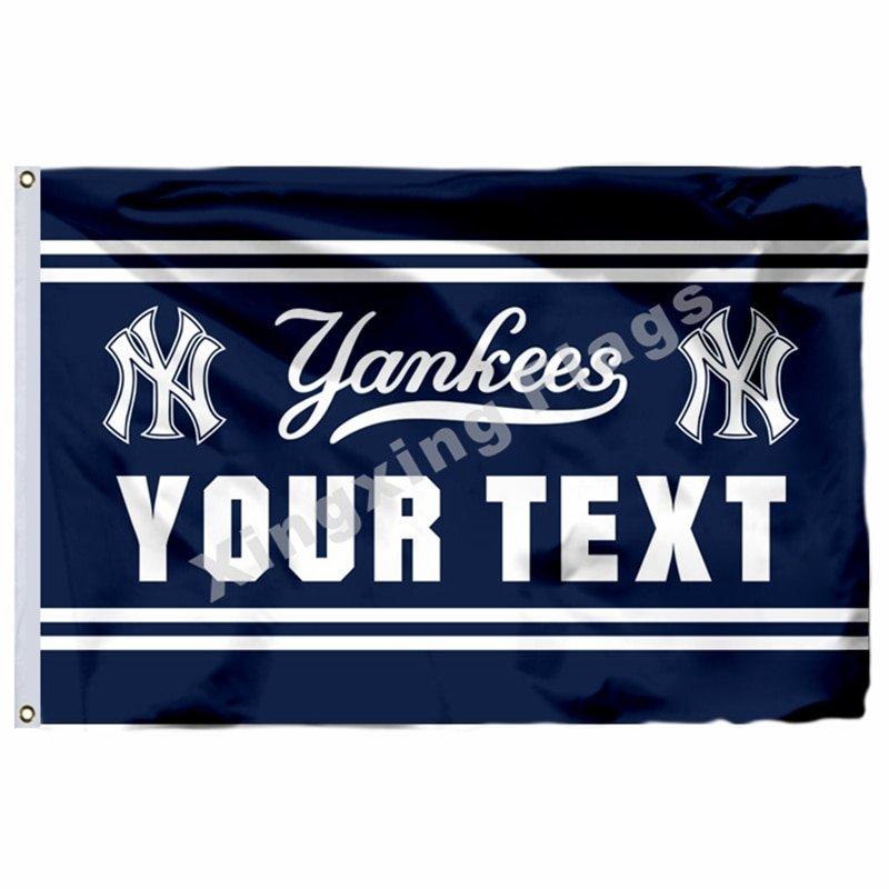 New York Yankees Custom Your Text Flag 3ft X 5ft Polyester MLB Team Banner Flyin