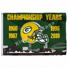 Green Bay Packers Championship Years Flag 3ft X 5ft Polyester NFL1 Team Banner F