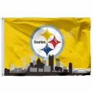 Pittsburgh Steelers With Pittsburgh City Skyline Flag 3ft X 5ft Polyester NFL Pi
