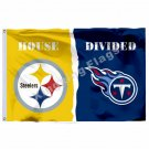 Pittsburgh Steelers Tennessee Titans House Divided Flag 3ft X 5ft Polyester NCAA
