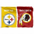 Pittsburgh Steelers Washington Redskins House Divided Flag 3ft X 5ft Polyester N