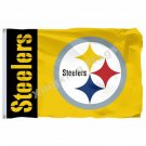 Pittsburgh Steelers Wordmark Flag 3ft X 5ft Polyester NFL1 Banner Flying Size No