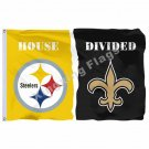 Pittsburgh Steelers New Orleans Saints House Divided Flag 3ft x 5ft Polyester NF