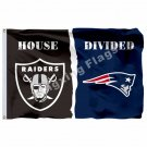 Oakland Raiders New England Patriots House Divided Flag 3ft X 5ft Polyester NFL1