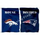 Denver Broncos New England Patriots House Divided Flag 3ft x 5ft Polyester NFL B