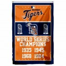 Detroit Tigers World Series Champions Flag 3ft X 5ft Polyester MLB Banner Flying