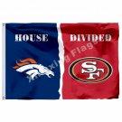 Denver Broncos San Francisco 49ers House Divided Flag 3ft X 5ft Polyester NFL Ba