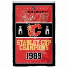 Calgary Flames Stanley Cup Champions Flag 3ft x 5ft Polyester NHL Banner Flying