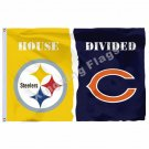 Pittsburgh Steelers Chicago Bears House Divided Flag 3ft X 5ft Polyester NCAA Ba