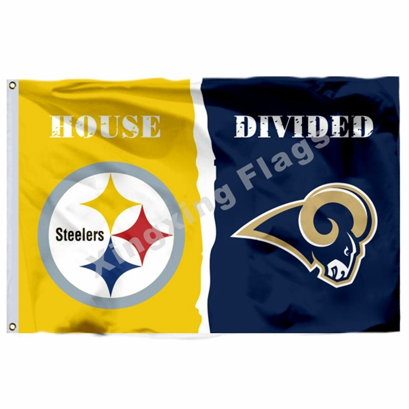 Pittsburgh Steelers St. Louis Rams House Divided Flag 3ft x 5ft Polyester NCAA B