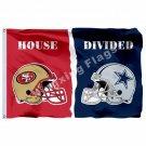 San Francisco 49ers Dallas Cowboys Helmets House Divided Flag 3ft X 5ft Polyeste
