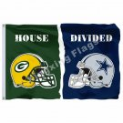 Green Bay Packers Dallas Cowboys Helmets House Divided Flag 3ft X 5ft Polyester