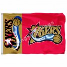 Philadelphia 76ers Wordmark Flag 3ft x 5ft Polyester NBA Philadelphia 76ers Bann