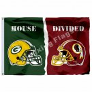 Green Bay Packers Washington Redskins House Divided Flag 3ft x 5ft Polyester NFL