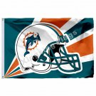 Miami Dolphins Helmet Lighting Flag 3ft X 5ft Polyester NFL Miami Dolphins Banne