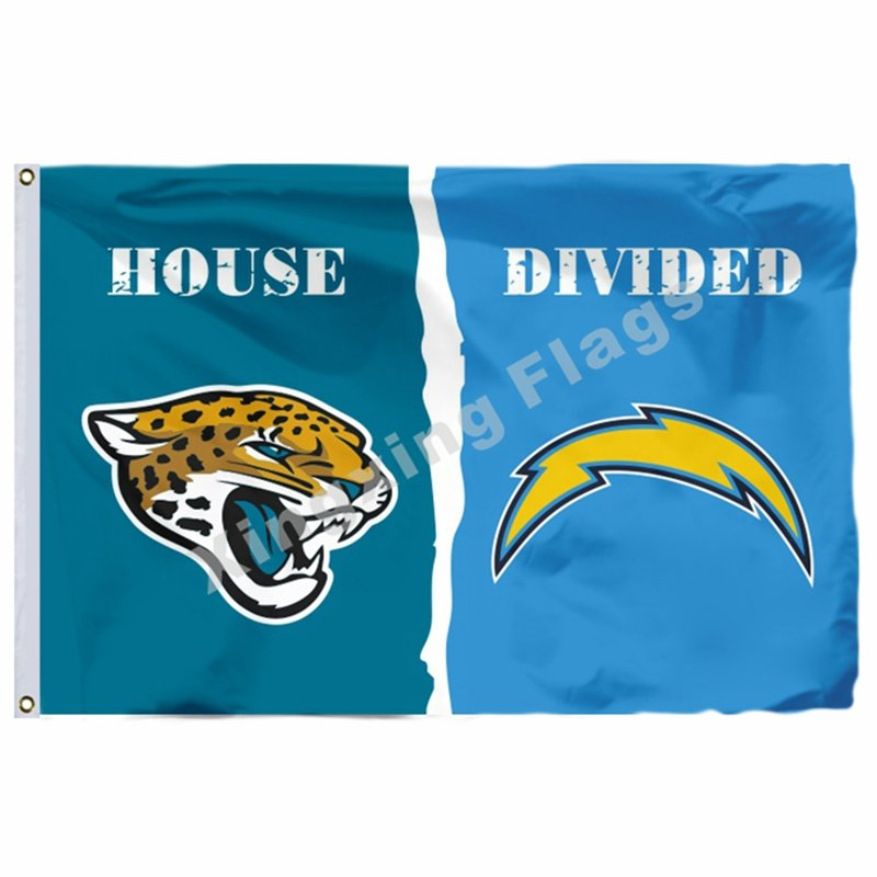San Diego Chargers Flag: Jacksonville Jaguars San Diego Chargers House Divided Flag
