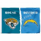 Jacksonville Jaguars San Diego Chargers House Divided Flag 3ft X 5ft Polyester N