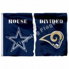 Dallas Cowboys St. Louis Rams House Divided Flag 3ft X 5ft Polyester NFL Banner