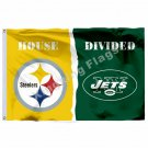 Pittsburgh Steelers New York Jets House Divided Flag 3ft X 5ft Polyester NCAA Ba