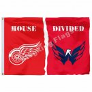 Detroit Red Wings Washington Capitals House Divided Flag 3ft x 5ft Polyester NHL