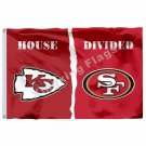 Kansas City Chiefs San Francisco 49ers House Divided Flag 3ft X 5ft Polyester NF