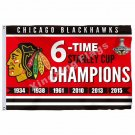 Chicago Blackhawks Stanley Cup 6X Champions Flag 3ft X 5ft Polyester NHL Banner