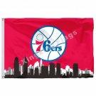 Philadelphia 76ers Philadelphia Skyline Flag 3ft X 5ft Polyester NBA1 Team Banne