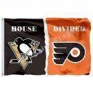 Pittsburgh Penguins Philadelphia Flyers House Divided Flag 3ft X 5ft Polyester N