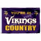 "Minnesota Vikings You""""re In Country Flag 3ft X 5ft Polyester NFL1 Minnesota Viki"