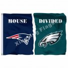 New England Patriots Philadelphia Eagles House Divided Flag 3ft X 5ft Polyester