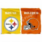 Pittsburgh Steelers Cleveland Browns House Divided Flag 3ft X 5ft Polyester NCAA