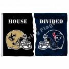 New Orleans Saints Houston Texans Helmet House Divided Flag 3ft X 5ft Polyester