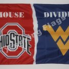 Ohio State Buckeyes West Virginia Mountaineers House Divided Flag 3ft X 5ft Poly